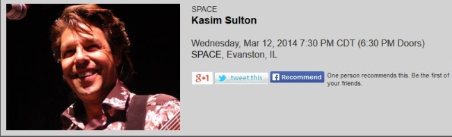 Kasim Sulton gig at SPACE, Evanston, IL